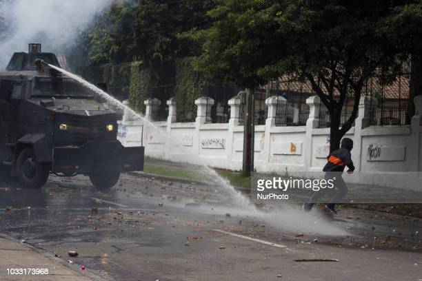 Some protestans thrown stones in the demonstrations that lasted more than five hours in the vicinity of the Pedagogical University of Bogota Colombia...