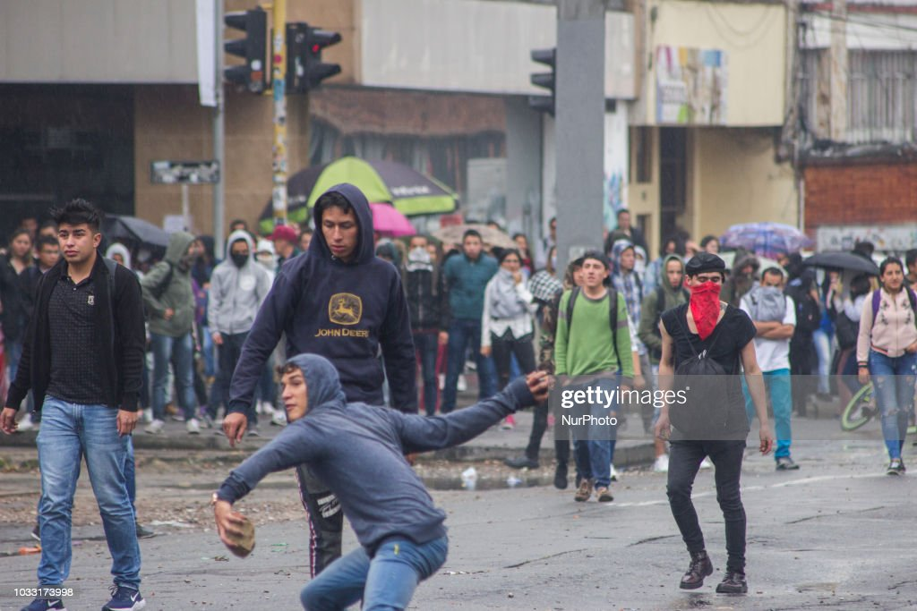 "Some protestans thrown stones in the demonstrations that lasted more than five hours in the vicinity of the Pedagogical University of Bogota, Colombia, on 13 September 2018, were controlled by the Mobile Anti-riot Squadron ESMAD of the Police. The riots began around 11 in the morning and damaged the mobility of streets 72 and 73, between races 11 and 15. This protest was made by the end of the program ""Ser pilo paga"", after the announcement made by the Minister of Education, María Victoria Angulo."