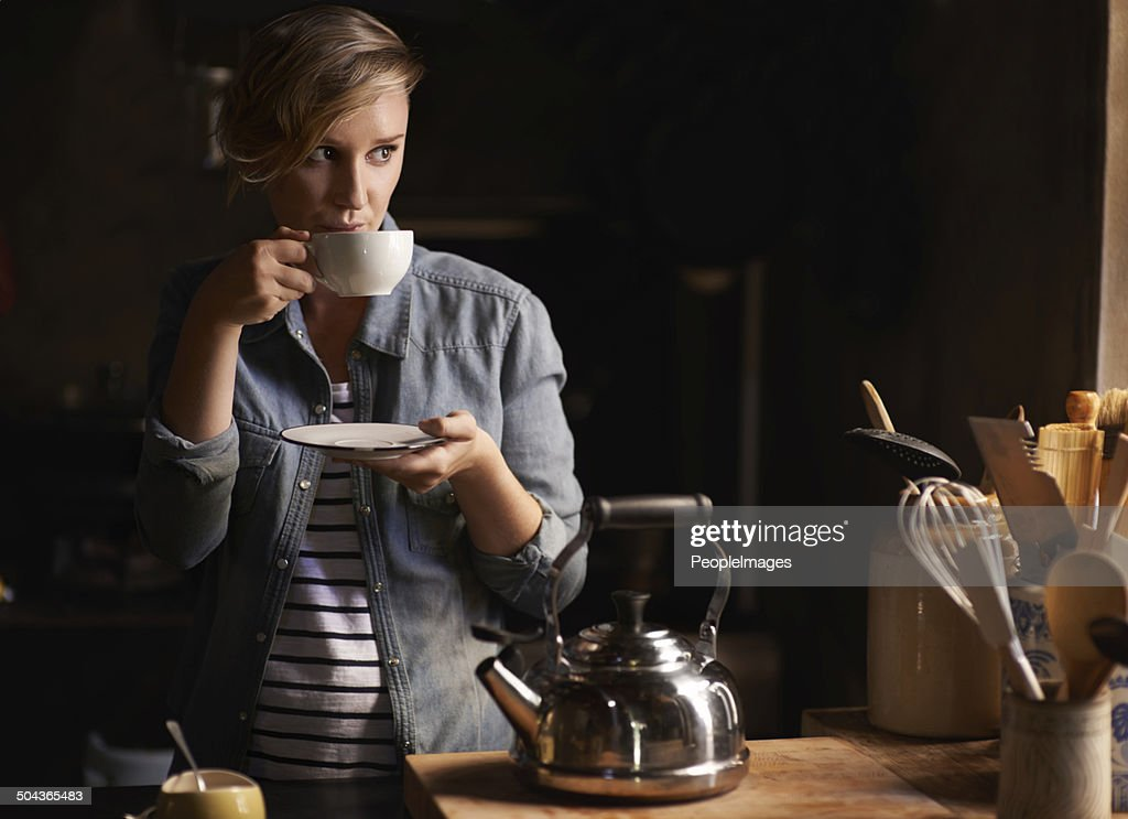 Some quiet time with a cup of tea : Stock Photo