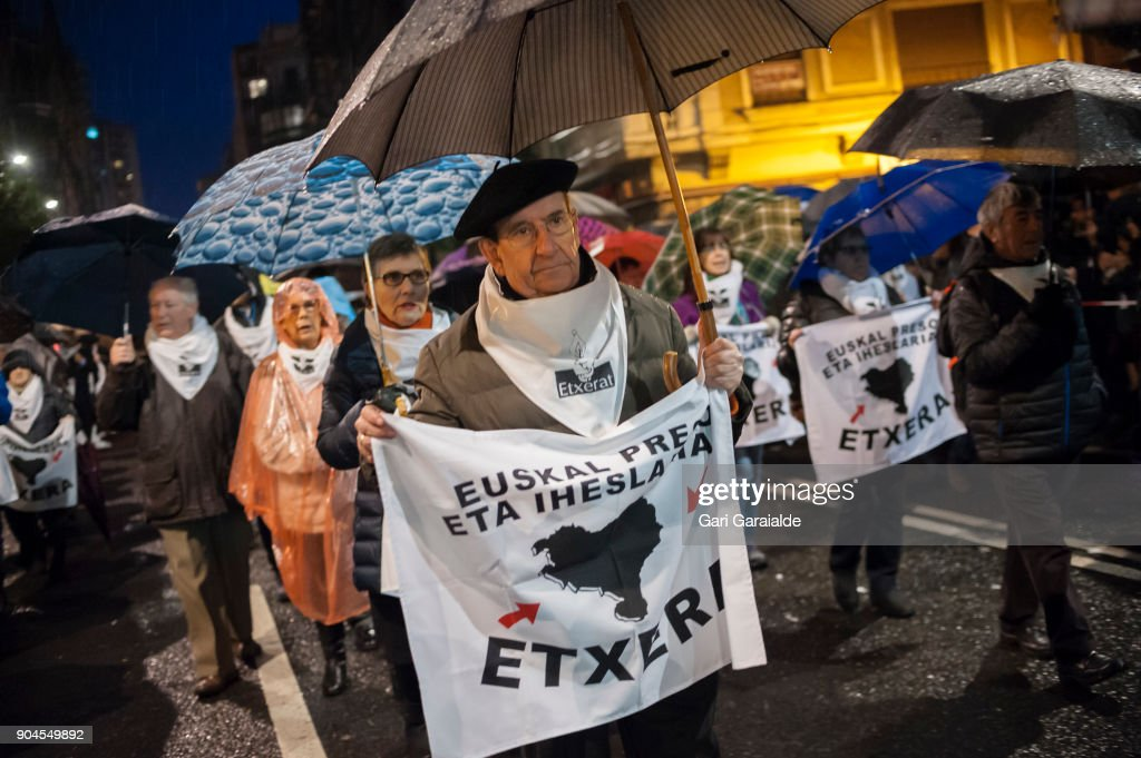 Some relatives of Basque prisoners carry banners reading 'Bring home Basque prisoners and fugitives' as they take part in a demonstration organised by the citizen's network which is calling for an immediate end to the dispersal policy and the violation of rights suffered by Basque prisoners on January 13, 2018 in Bilbao, Spain. Families of prisoners from the disbanded terrorist group ETA protest for their right to be moved to prisons that would make visiting easier.