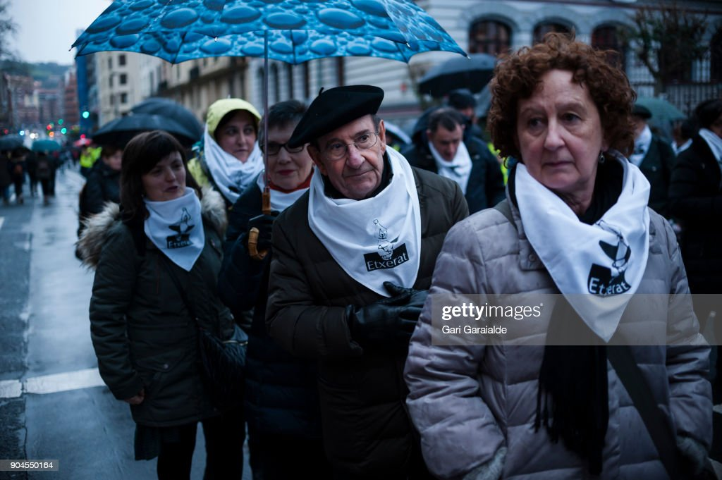 Some relatives of Basque prisoners take part in a demonstration organised by the citizen's network which is calling for an immediate end to the dispersal policy and the violation of rights suffered by Basque prisoners on January 13, 2018 in Bilbao, Spain. Families of prisoners from the disbanded terrorist group ETA protest for their right to be moved to prisons that would make visiting easier.