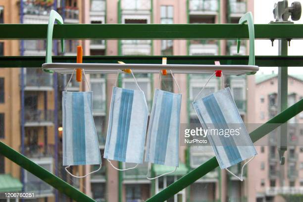 Some respiratory masks laid out on a balcony in Turin in Italy on March 12 after the Italian prime minister Giuseppe Conte ordered on Wednesday night...