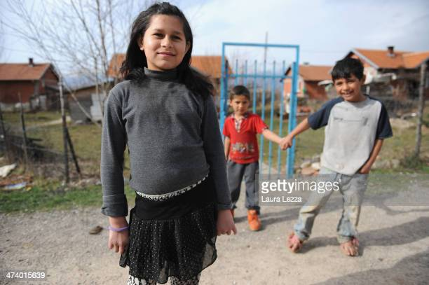Some roma children living in very poor conditions pose for a photo in a Roma village during a patrolling activiy carried out by Italian KFOR soldiers...