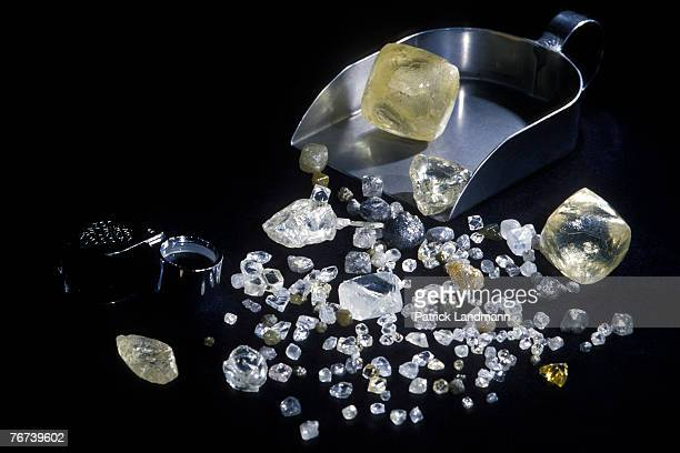 Some rough diamonds of varying carats clarity colour and form at the Diamond Trading Company in London