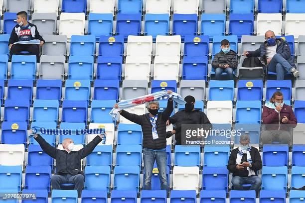 Some SSC Napoli supporters from the thousand admitted due to Corona Virus measures before the Serie A match between SSC Napoli and Genoa CFC at...
