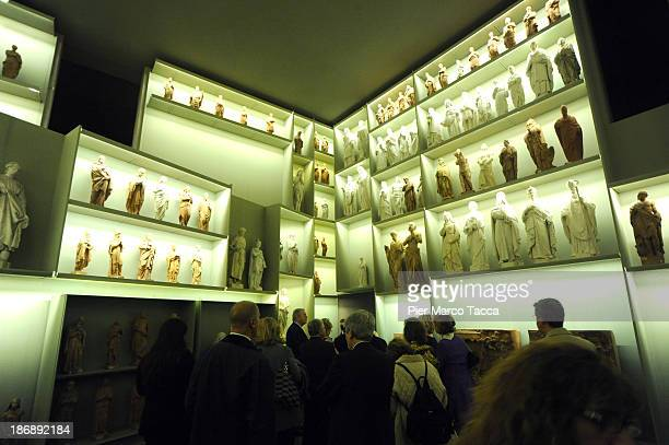 Some statues are displayed during the opening exhibition of new Grande Museo del Duomo on November 4 2013 in Milan ItalyThe opening of the new Grande...