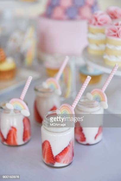 some strawberry smoothies on the table - strawberry milkshake and nobody stock pictures, royalty-free photos & images