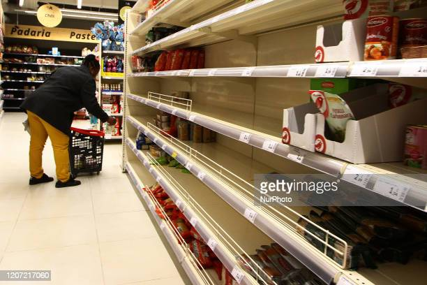 Some supermarkets present empty shelves due to the emergency by COVID19 in the city of Lisbon March 15 2020 In response to the government's...