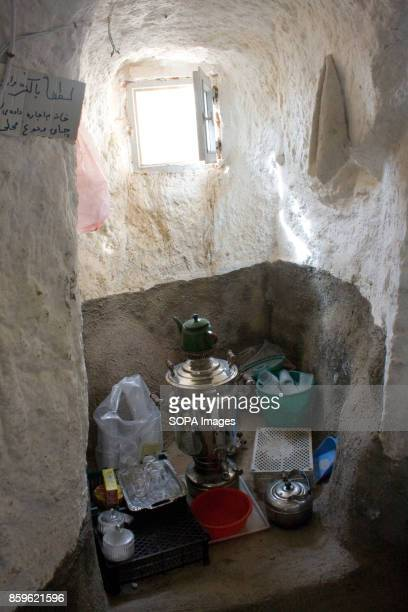 Some tea pot are seen inside a local house The tiny village of Kandovan in the Iranian East Azerbaijan Province is known for its cliff dwellings not...