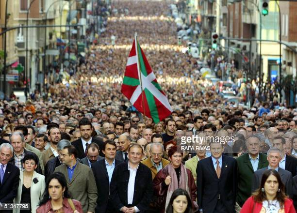 Some thousands people demonstrate 22 December 2002 in the Spanish northern Basque city of Bilbao to protest against pro independence armed Basque...
