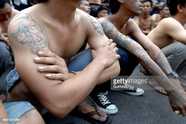 Some thugs are secured at the police station for data and briefed in Jatinegara Jakarta On July 92018 The thugs netted at a ceramic site at the...