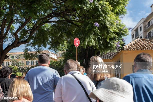 some tourists lead by a guide with a red stick held high - dorte fjalland stock pictures, royalty-free photos & images