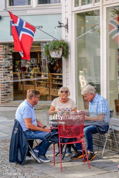 norway - stavanger - people - kirkegata - cafeteria - norwegian flag stock pictures, royalty-free photos & images