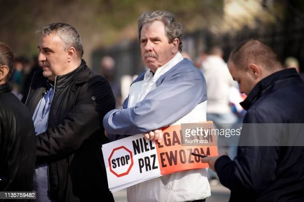Some two thousand taxi drivers from all over the country are see protesting in front of the Prime Ministers office in Warsaw Poland on April 8 2019...