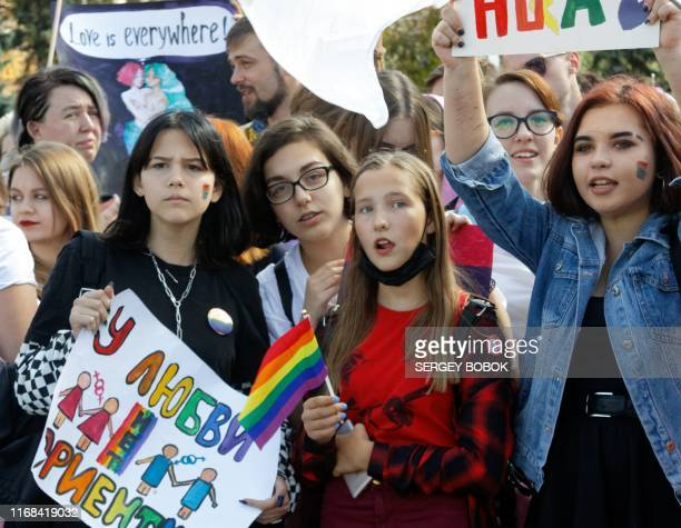 Some two thousands LGBT community activists take part in the Kharkiv Pride march in Kharkiv on September 15 2019