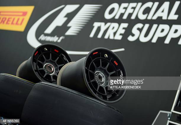 Some tyries and their wheels wait for a preparation in Pirelli's center at the Hungaroring circuit in Budapest on July 23 2015 prior to the weekend's...