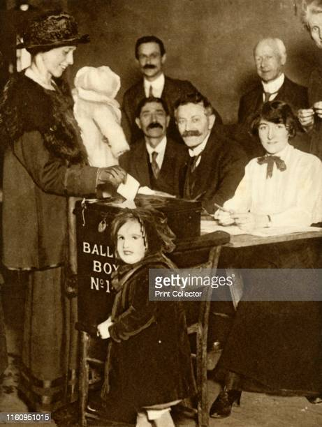 Some women are able to vote for the first time, Britain, 14 December 1918, . 'In the General Election on December 14 women for the first time...