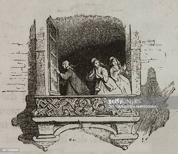 Some women running away in disgust while Gulliver extinguishes the fire in the imperial palace by urinating on the flames illustration from Chapter...