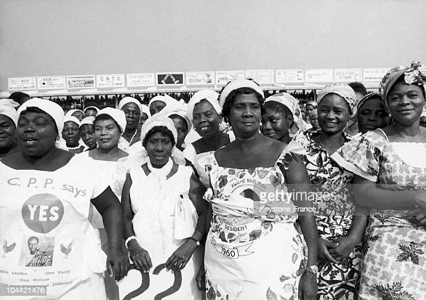 Some Women Showing The Yes And The Name Of President Kwame Nkrumah On A Referendum At The Stadium Of Accre In Ghana On January 29 1964