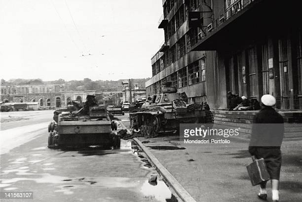 Some wrecks of Russian tanks lying abandoned along a road Kharkov August 1942