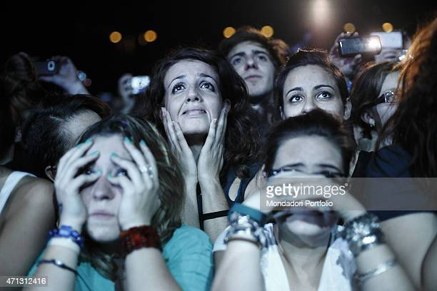 Some young fans' gazes full of emotion during one of the Solo 20 Tour dates of the Italian singer Margo Mengoni rose to fame after winning the talent...