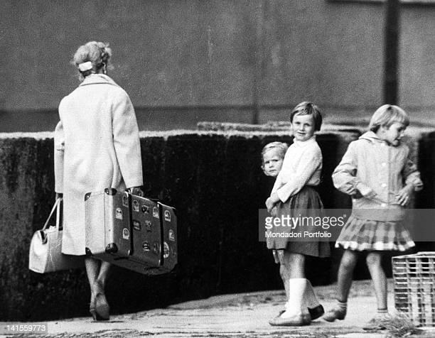Some young German girls strolling along a street in East Berlin East Berlin August 1961