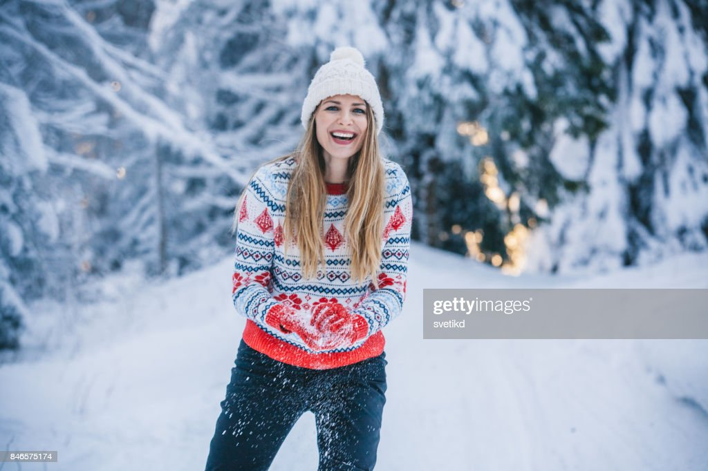 Somebody for snowballing : Stock Photo