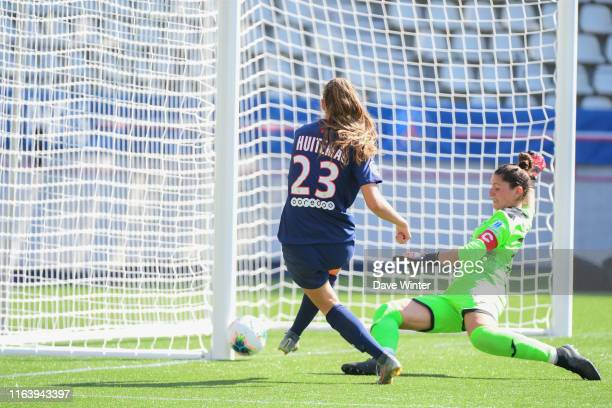 Somehow Jordyn Huitema of PSG hits the post when it looks easier to score during the D1 Arkema match between Paris Saint Germain and AS...