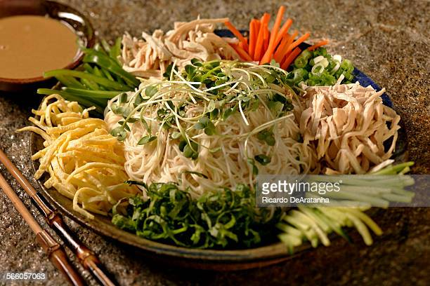 Cold Somen Noodles with Chicken and Julienned Vegetables shot in the Los Angeles Times studio June 18 2009