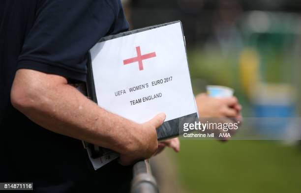 Someone holds a folder with the England flag on it during the England training session on July 15 2017 in Utrecht Netherlands