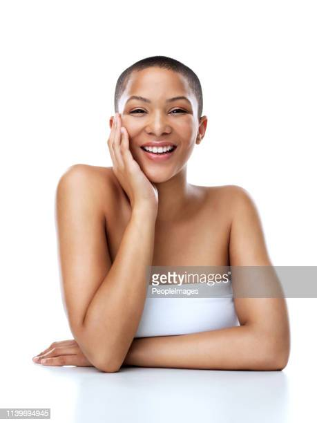 someone is in a good mood today - half shaved hairstyle stock pictures, royalty-free photos & images