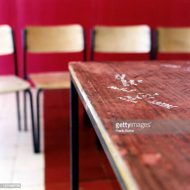 someone wrote something on a table - vandalismus stock-fotos und bilder