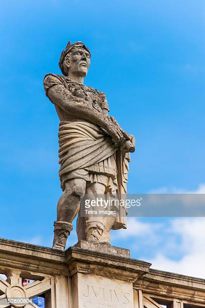 UK, Somerset, Bath, Statue of Julius Caesar at Roman Baths