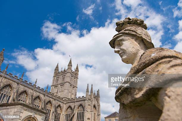 uk, somerset, bath, statue of ostorius scapula at roman baths - bath england stock pictures, royalty-free photos & images