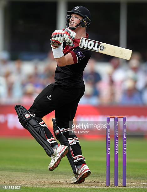 Somerset batsman Adam Hose hits out during the Royal London OneDay Cup match between Somerset and Surrey at The County Ground on August 17 2015 in...