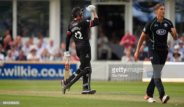 Somerset batsman Craig Overton celebrates after hitting the winning runs during the Royal London OneDay Cup match between Somerset and Surrey at The...