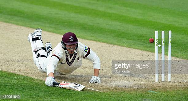 Somerset batsman Craig Overton survives a run out during day one of the Division One LV County Championship match between Worcestershire and Somerset...
