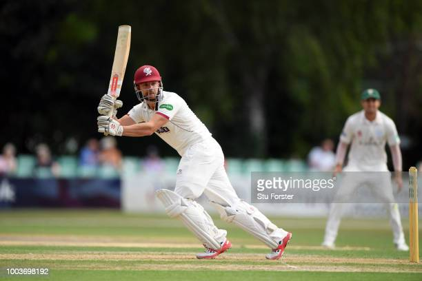 Somerset batsman Marcus Trescothick drives during Day One of the Specsavers County Championship Division One match between Worcestershire and...