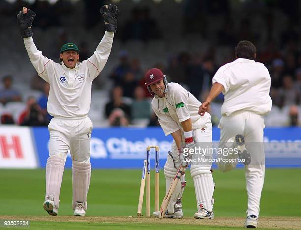 Somerset batsman Jamie Cox is bowled by Leicestershire's Shahid Afridi for 44 during the Cheltenham Gloucester Trophy Final at Lord's 1st September...
