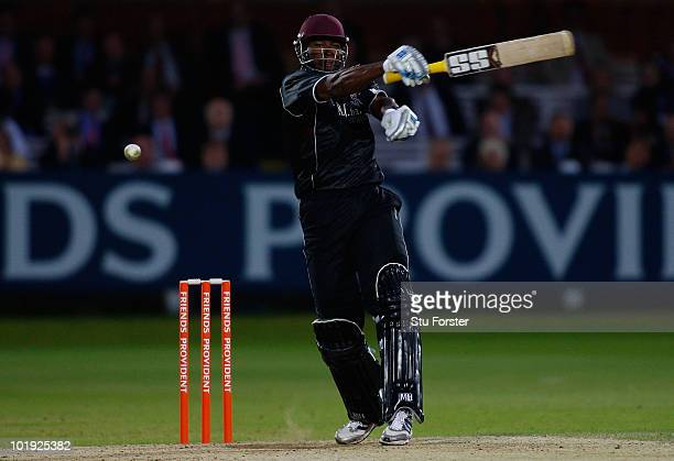 Somerset batsman Kieron Pollard plays a shot one handed during the Friends Provident T20 match between Middlesex and Somerset at Lords on June 9 2010...