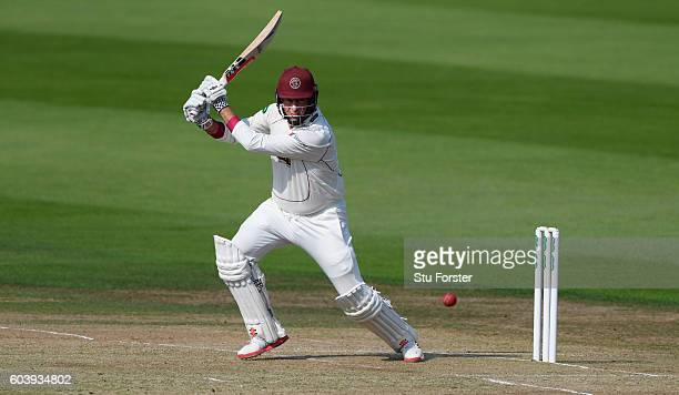 Somerset batsman Marcus Trescothick cover drives during day two of the Division One Specsavers County Championship match between Yorkshire and...