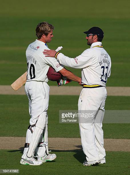 Somerset batsman Nick Compton shakes hands with Durham fielder Michael Di Venuto as the game finishes as a draw during Day four of the LV County...