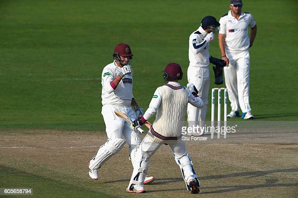 Somerset batsmen Marcus Trescothick and Tom Aabell celebrate victory during day three of the Division One Specsavers County Championship match...