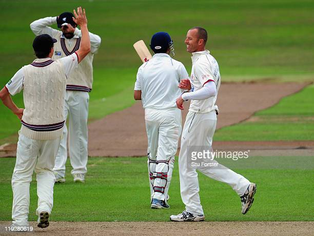 Somerset bowler Charl Willoughby celebrates after dismissing India batsman Gautam Gambhir during day two of the tour match between Somerset and India...