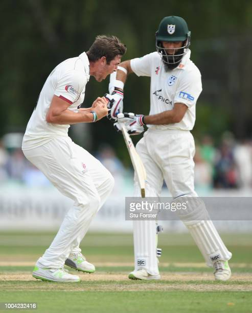 Somerset bowler Jamie Overton celebrates after dismissing Worcestershire batsman Moeen Ali during Day two of the Specsavers County Championship...