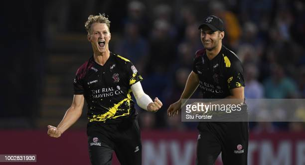 Somerset bowler Max Waller celebrates after dismissing Chris Cooke during the Vitality Blast match between Glamorgan and Somerset at Sophia Gardens...