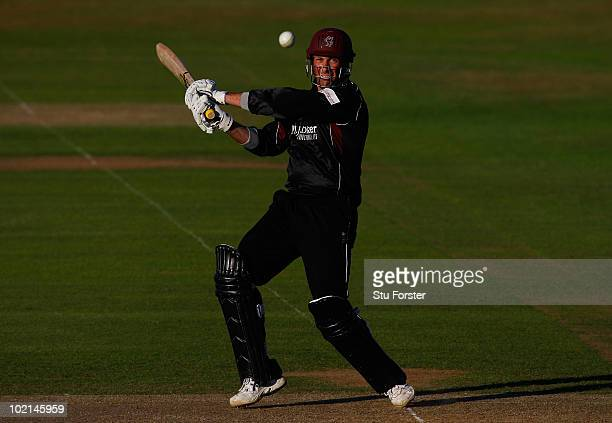 Somerset captain Marcus Trescothick hits a ball to the boundary during the Friends Provident T20 match between Somerset and Essex at the County...