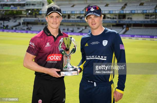 Somerset captain Tom Abell and Hampshire captain Sam Northeast with the trophy during the Royal London One Day Cup Final match between Somerset and...