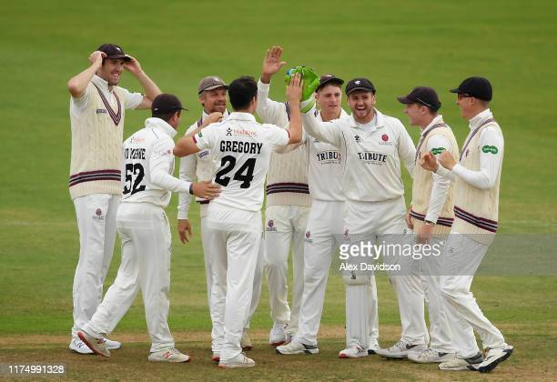 Somerset celebrate the wicket of James Vince of Hampshire during Day One of The Specsavers Division One County Championship match Hampshire and...