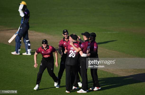 Somerset celebrate victory during the Royal London One Day Cup match between Glamorgan and Somerset at Sophia Gardens on April 21, 2019 in Cardiff,...